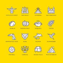 Brazilian Culture Linear Icons Set.