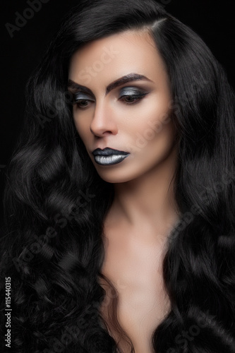 Fototapety, obrazy: beautiful fashionable woman with long hair on dark background