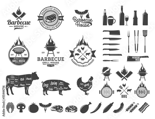 Fotografía  Set of vector barbecue logo, labels and icons