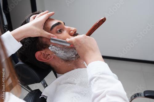 shaving process Barbershop face closeup Poster