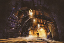 Inside Of The Mine Shaft With ...