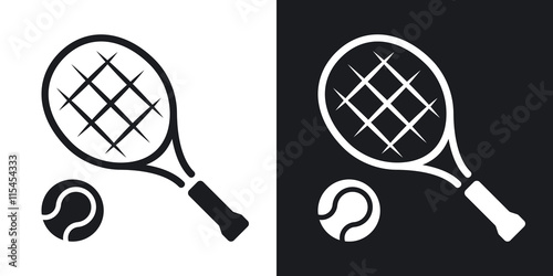 Photo Vector tennis racket and tennis ball icon
