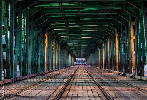Foto op Canvas Vintage Poster Gdansk tram bridge in Warsaw, Poland