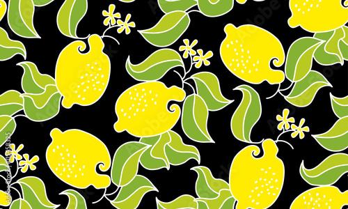 owoc-cytryny-wzor-na-czarnym-tle-wektor-dekor