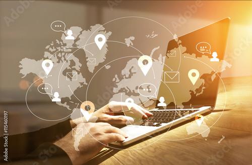 Cuadros en Lienzo  Businessman using laptop with network