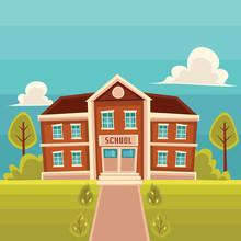 School Building Cartoon Vector...