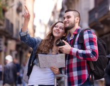 Happy Tourists On Excursion