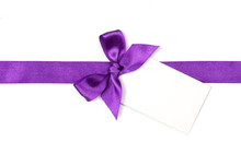 Purple Ribbon With Bow And Card