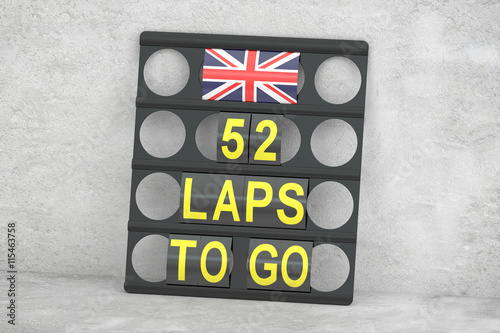 Foto op Plexiglas F1 Silverstone racing, pit board with flag of UK, 3D rendering
