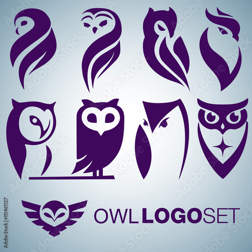 Keuken foto achterwand Uilen cartoon OWL LOGO SET