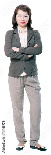 Fotografía  Concentrated young business woman cutout with arms folded