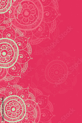 Ethnic Invitation Card Red Background With Lace Beige