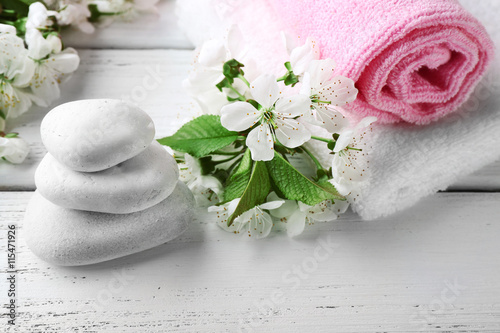 Fototapety, obrazy: Spa treatment with blooming branch on wooden table