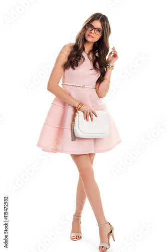 7549d602b398 ... prom dress Style Source · Woman in light pink dress Young lady in  glasses Salmon dress with