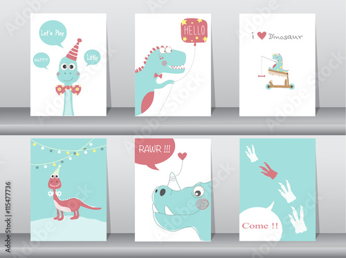 Set of cute cards,poster,template,greeting cards,animals,dinosaurs,Vector illust Poster