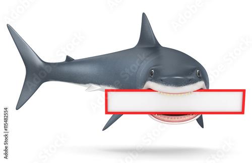 3d shark on a white background Wallpaper Mural