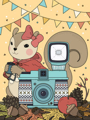 Fototapeta Do pokoju chłopca Adorable squirrel coloring page