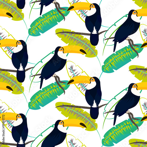 Foto  Toco toucan bird on banana leaves seamless vector pattern on white background