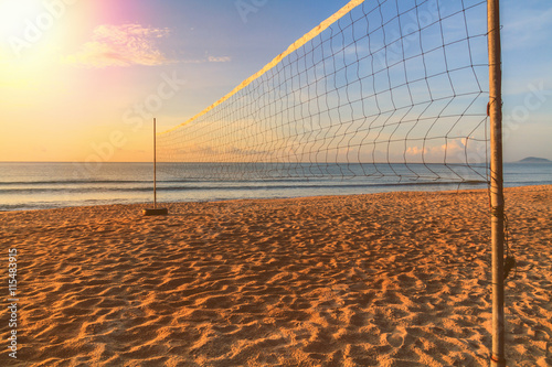 Volleyball net on the beach on summer. - 115483915