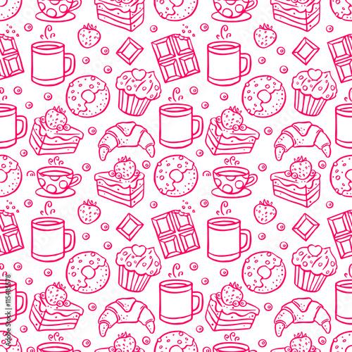 Materiał do szycia słodkie ikony bezszwowe Kawa i desery
