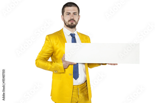 Photo young businessman holds in his hands a place on your advertising