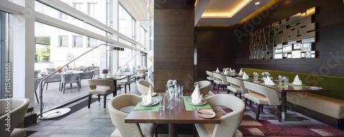 Fotobehang Restaurant Modern restaurant interior, part of a hotel