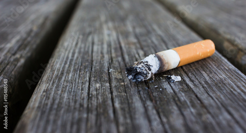 Vászonkép  Selective focus on cigarette butt with ash isolated on wood back