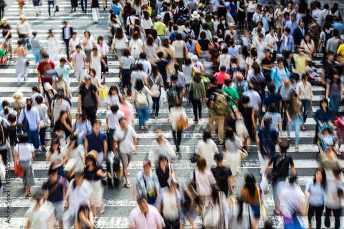 Fotografie, Obraz  横断 歩 道 を 渡 る 人 々