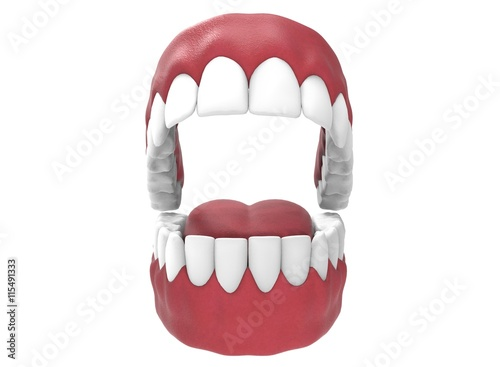 3d illustration of opened gum with teeth and tongue. icon for game ...