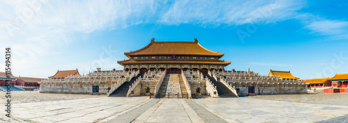 Poster Peking panoramic view of the Forbidden City. it is a very famous landmark in Beijing.
