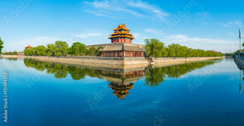 Foto op Aluminium Beijing Panoramic view of Corner Tower in Forbidden City in Beijing, China