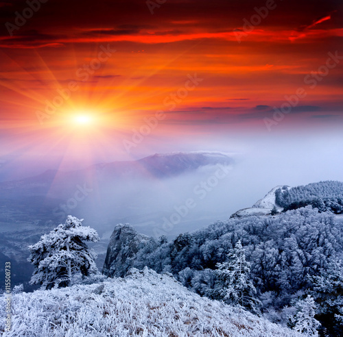 Obraz na plátne  Winter sunset scene in mountains
