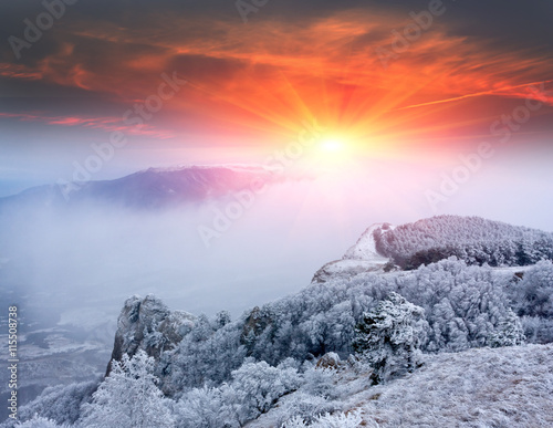 Fotografia, Obraz  sunset scene in mountains