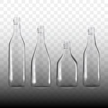 Set Of Transparent Empty Bottles