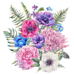 NaklejkaWatercolor floral greeting card with anemones