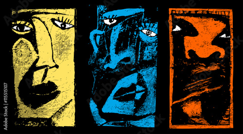 Three faces. Abstract artistic illustration of 3 different faces. Wallpaper Mural