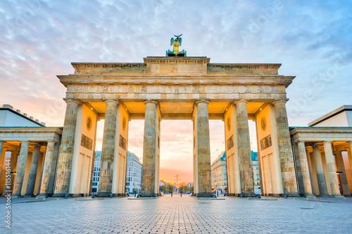 Fényképezés Brandenburg Gate with the sunrise in Berlin, Germany