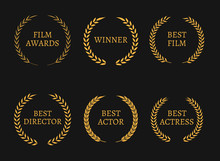 Film Academy Awards Winners And Best Nominee Gold Wreaths On Black Background.