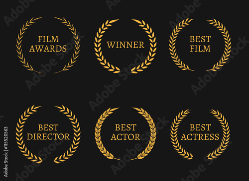 Photo  Film academy awards winners and best nominee gold wreaths on black background