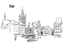 Trier Market Square Outline Sketch
