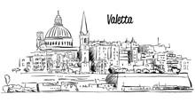 Valetta, Malta. Panorama Waterfront Outline Vector Sketch