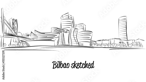 Fotografie, Obraz  Bilbao Skyline, Hand drawn Vector Artwork