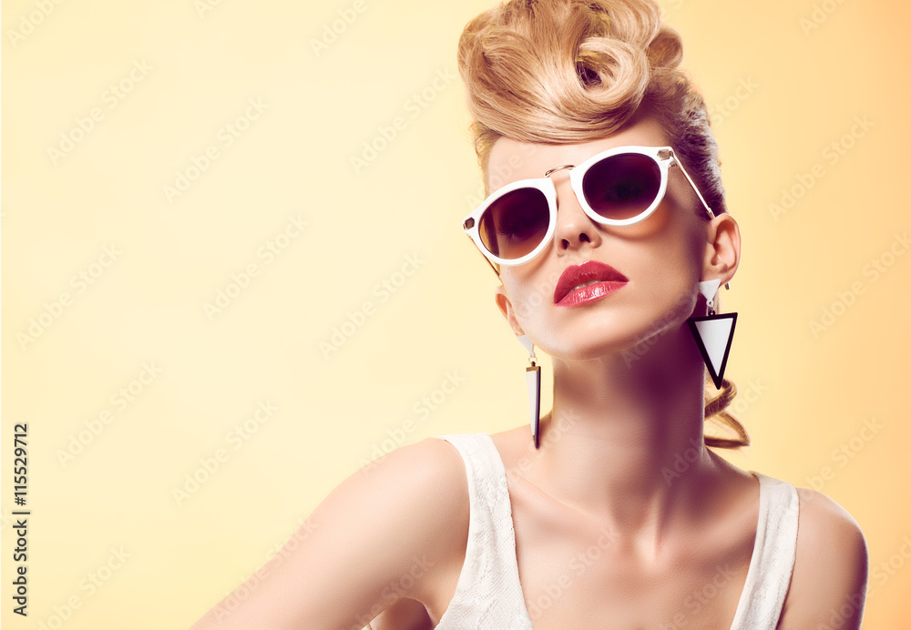 Fototapety, obrazy: Fashion portrait Hipster Model woman, Stylish hairstyle. Fashion Makeup. Blond sexy Model, Trendy Glamour fashion Sunglasses. Playful cheeky fashion girl. Unusual Creative.Party disco mohawk hairstyle