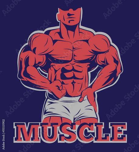 fototapeta na szkło bodybuilder logo muscle man posing emblem