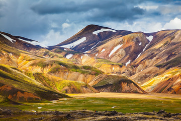 The valley of park Landmannalaugar in warm July