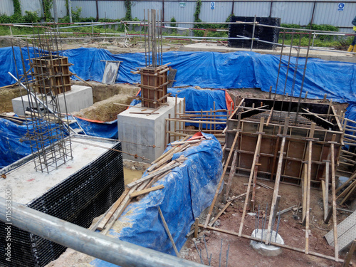 Poster Afrique du Sud The concrete pile cap concreted at the construction site in Selangor Malaysia. The pile cap is the part of building foundation.