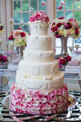 Fototapeta Delicious wedding cake.