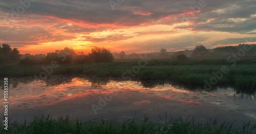 Photo sur Aluminium Cappuccino Foggy morning landscape