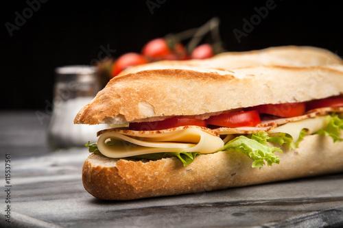 Staande foto Snack Panini grilled sandwich