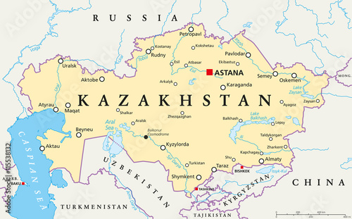 Kazakhstan political map with capital Astana, national borders ...